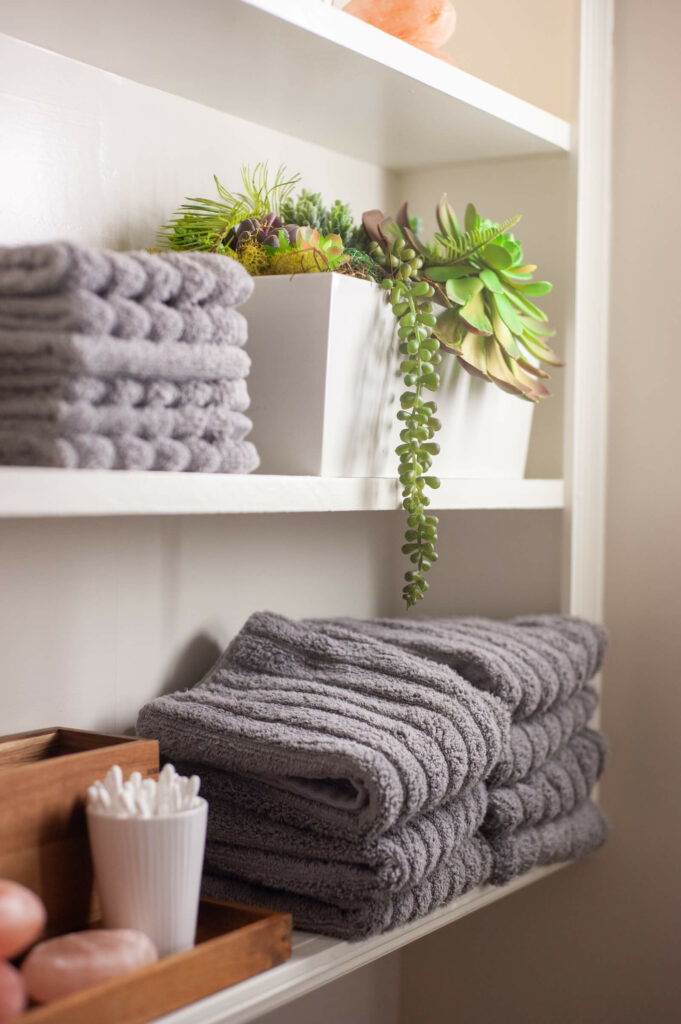 Towels and a plant on shelves